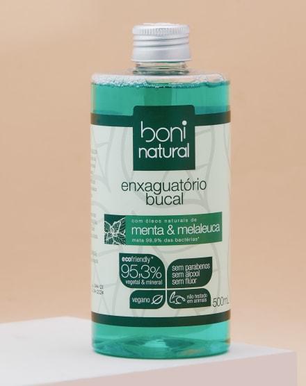 BONI NATURAL ENXAGUANTE BUCAL SEM FLÚOR COM MENTA E MELALEUCA - 500ML